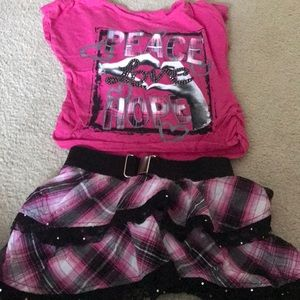 Justice plaid outfit. Size 6/7.